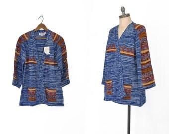 Blue 1970s Wrap Sweater • 70s Wrap Cardigan Deadstock • Southwestern Wrap Cardigan • 70s Space Dyed Sweater • Tribal Print Sweater