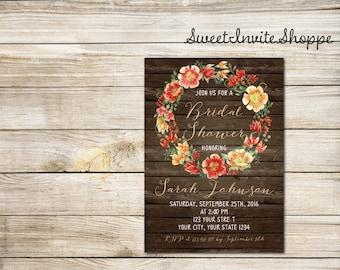 Fall Rustic Bridal Shower Invitation, Boho Country Invitation, Autumn Floral Bridal Shower Invitation, Watercolor Floral Wreath Invitation