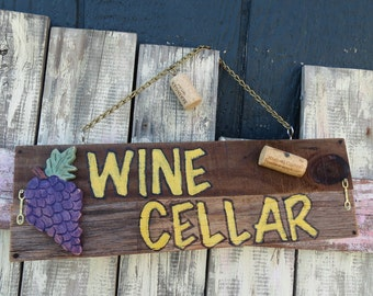 Wine Cellar sign with corks and wooden grapes attached....hand painted-ready to ship!