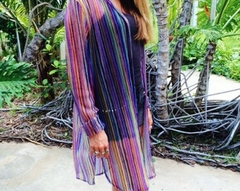 Missoni Dress, Made in Italy, Missoni Cover, Missoni Duster, Women's Clothing, Italian Clothing, Rainbow Stripes