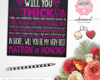 """Be My Matron of Honor Card """"Purple Chalkboard"""" (Printable File Only) Be Matron of Honor, Ask Bridesmaid, Be In Our Wedding, Ways to Ask"""