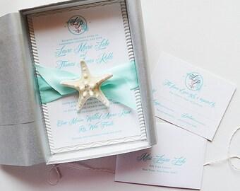 Beach Wedding Invitation, Destination Wedding Invitation, Invitation In A Box