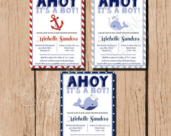 Nautical Baby Shower, Ahoy Its A Boy - Whale - Anchor - Red Blue Grey - Personalize Printable