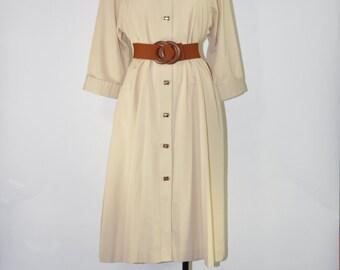 60s khaki trench / 1960s tea sleeve coat / lightweight trench coat