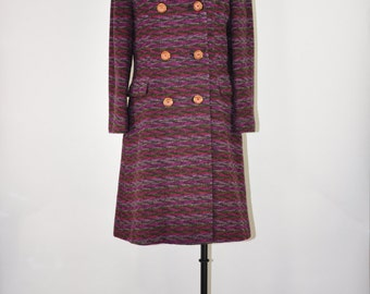 60s purple wool peacoat / 1960s wool tweed coat / chevron print double breasted coat
