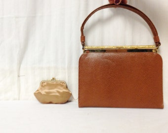 After Five, L and M ,bags purses,Vintage Handbag,1950s,1960s, Gold Crystal Clasp, w/ Coin Purse