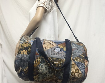 Duffel bag ,travel bag ,blue,gym bag ,paisley,Free shipping in the US