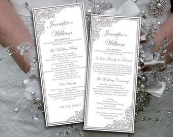 "Wedding Program Template Download - Silver Ceremony Program ""Impressions"" Tea Length Wedding Program Printable DIY Wedding Order of Service"