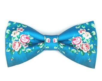 Pink Rose Flower Bowtie Bow Tie