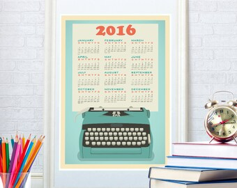 2016 calendar poster print, Holiday gift, Mid century kitchen art, Home decor, Wall art
