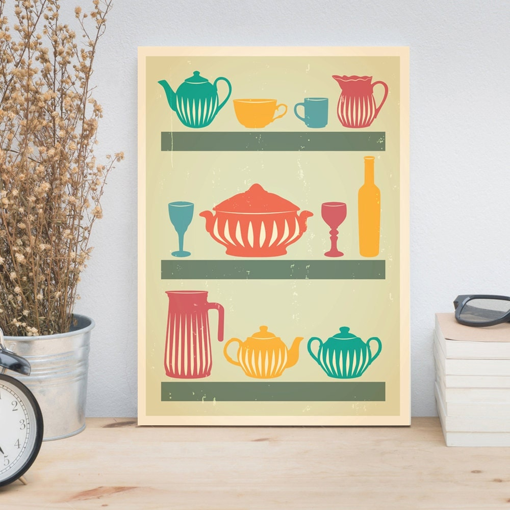 Retro Kitchen Wall Decor: Kitchen Print Retro Poster Kitchen Wall Art Wife By ReStyleGraphic