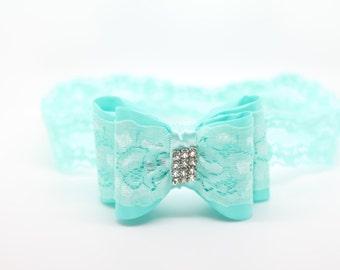 Aqua Lace Bow Headband, Aqua Headband, Aqua bow headband, Aqua baby headband, 3d Bow Headband, aqua bow, aqua Flower Girl Headband,Aqua Clip