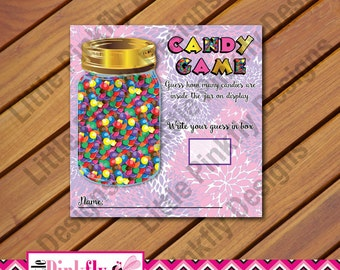 Pink and Purple Baby Shower Candy Guessing Game, M & M Guessing Game, Candy Jar Guessing Game