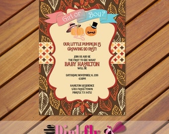 Pumpkin Gender Reveal Invitation, Fall Gender Reveal, Thanksgiving Gender Reveal, He or She Invitation, Boy or Girl Invite, Little Pumpkin