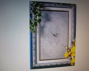 Pattern Pdf Wall clock crochet work to be realized and framed