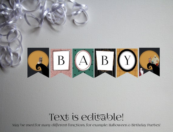 nightmare before christmas baby shower banner banner instant download