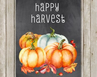 8x10 Fall Art Print, Happy Harvest Art, Watercolor Printable, Typography Printable, Chalkboard Autumn Decor, Fall Poster, Instant Download