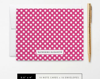 Flat or Folded Note Cards // Set of 10 // Hot Pink & White Polka Dots with Name // Personalized Stationery // S101