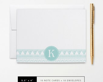 Flat or Folded Note Cards // Set of 10 // Teal Aztec Doodle with Monogram Initial // Personalized Stationery // S109