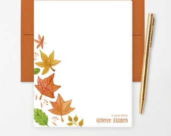 Personalized Note Pad // Watercolor Fall Leaves with Name // S110