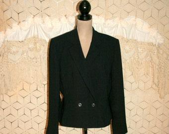 Plus Size Women Suit Jacket XL Black Jacket Double Breasted Blazer Jacket Minimalist Fitted Liz Claiborne Size 16 Jacket Womens Clothing