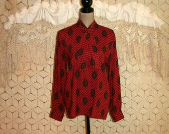 Vintage 1980s Clothing 80s Shirt Red Print Long Sleeve Bohemian Grunge Button Up Oversized Secretary Blouse Bow Large XL Womens Clothing