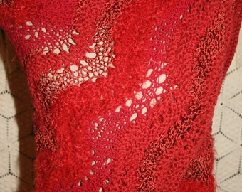 Hand Knit Shawl Red Shawl Red Wrap Triangle Shawl Lace Hippie Boho Festival Clothing Handmade Shawl Boho Clothing Hippie Clothing