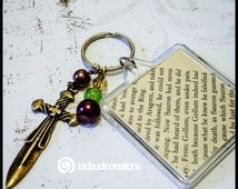 Tolkien Inspired Upcycled Keychain w/ Glass Beads and Bronze Sword Charm