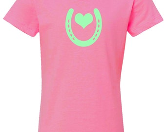 Heart Shoe Horse and Pony T-Shirt for Girls - Pink with Mint Heart and Horseshoe - Equestrian Clothing