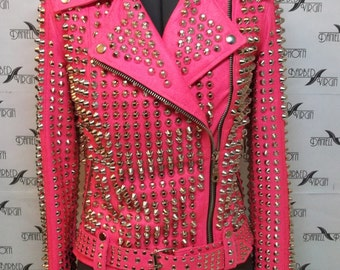 Exclusive Pink studded leather jacket from the video clip of Madonna
