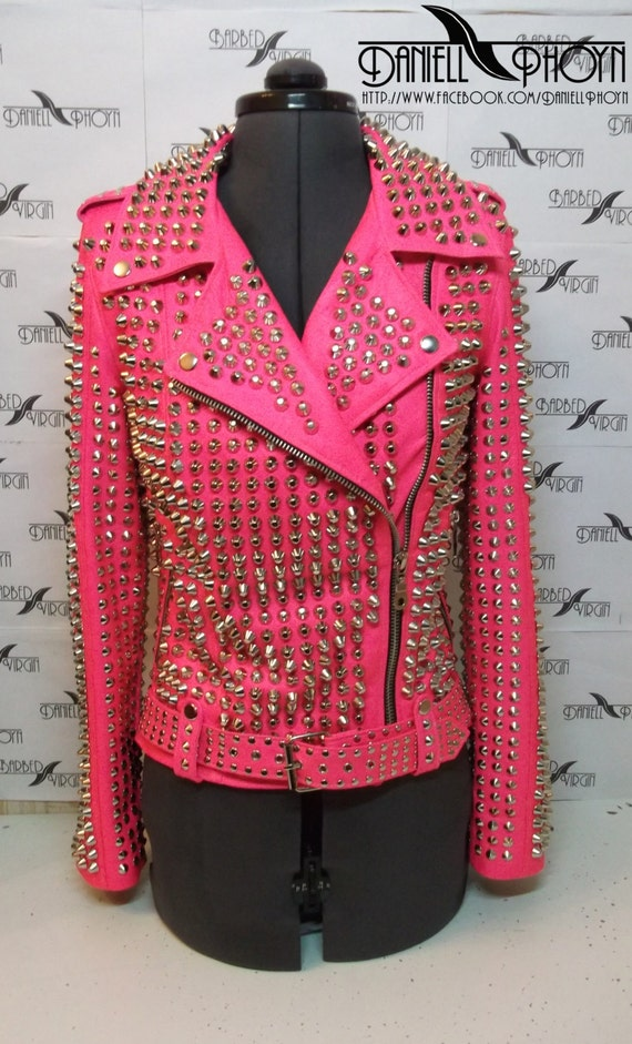 Items similar to Exclusive Pink studded leather jacket from the ...