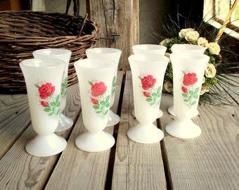 Glass Pedestal Cups - Set of 8 - Milkglass Coffee Cups - Mazagran - Dessert Cups - Ice Cream Cup - Red Rose Decor - Arcopal - Made in France