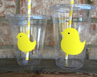 Easter Party Cups with lids and straws -  16oz and 12oz disposable cups