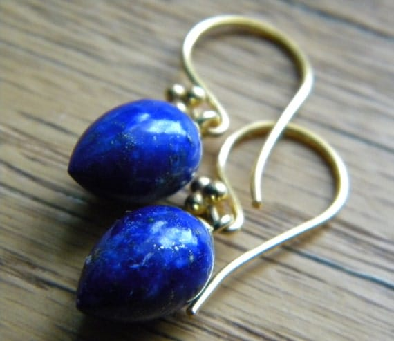 dark blue earrings lapis lazuli royal blue inverted acorn. Black Bedroom Furniture Sets. Home Design Ideas