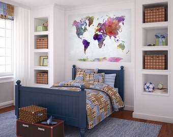 WORLD MAP Watercolor Paint Poster Mural Decal Sticker Wall Vinyl or Fabric Geography Countries Continents Peel and Stick Wallpaper GIFT