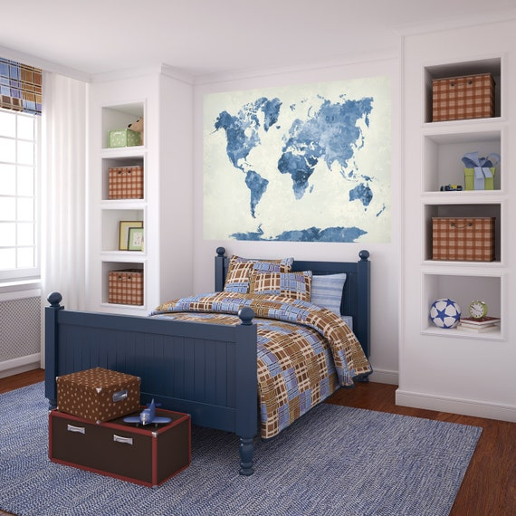 Blue Watercolor World Map Decal by AmericanDecals AmericanDecalsAmericanDecals by AmericanDecals