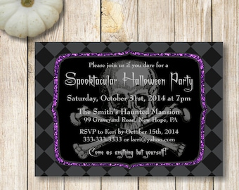 Halloween Party Invitation, Skull and Crossbones Halloween Party Invitation, Costume Party Invitation, Purple Glitter Halloween Invite