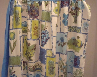Vintage Apron Blue, Green & Yellow - Mod - Circa 1960's - Excellent Condition!!