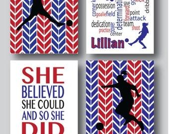Set of 4 Soccer Prints, Soccer Girl, Soccer Poster, Soccer Coach, Sports Poster, Soccer Decor, Soccer Gifts, Sports Decor, You choose colors