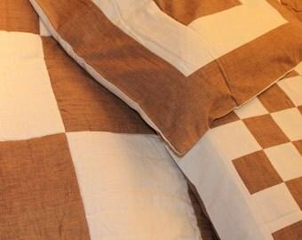 Rust and Cream Reversible Quilt set