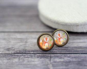Fox Earrings, Red Fox Earrings, Fox Studs, Orange Fox, Cute Fox, Fox Jewelry, Fox, Watercolor Fox, Beige Earrings, Forest Animals, Wildlife