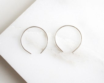 Silver Circle Hoop Earrings -Sterling Silver Wire Hoop Earrings - Hoop Earrings - Geometric Earrings