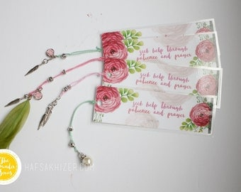 Islamic Bookmarks, bookmarks, feather bookmarks, islamic stationary, islamic kids gifts, seek help through patience, Quran bookmark, Eid