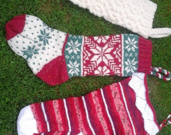 Knitting pattern for three traditional Christmas stockings