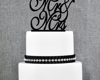 Script Mr and Mrs Wedding Cake Topper, Calligraphy Traditional and Elegant Wedding Cake Toppers in your Choice of Color (S215)