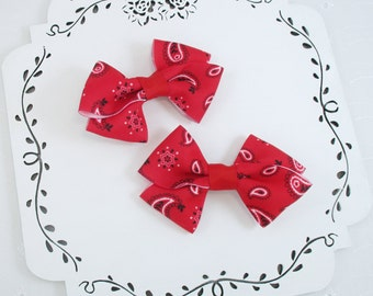 Red Hair Bows, Bandana Bows, 3 or 4 Inch Bandana Hair Bows, Western Bows, Cowgirl Hair, Small Hair Bows