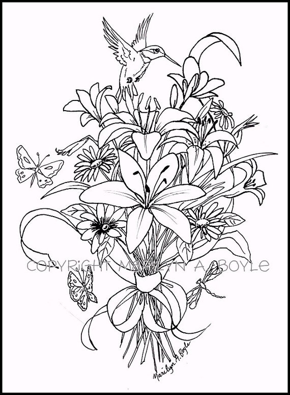 ADULT COLORING PAGE Digital Download Bouquet Of Flowers