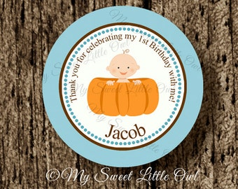 Pumpkin Cupcake Topper - pumpkin Baby Shower - pumpkin boy sticker - pumpkin party favor tag -pumpkin birthday. pumpkin printable