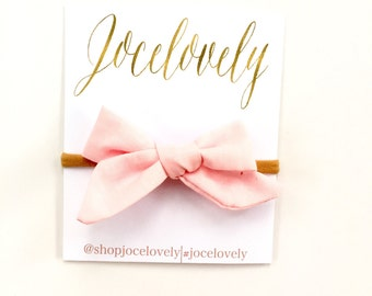 Blush Pink Hand Tied Schoolgirl Bow Headband, Baby Bow Clip, Toddler Bow Headband, Baby Gift Set,