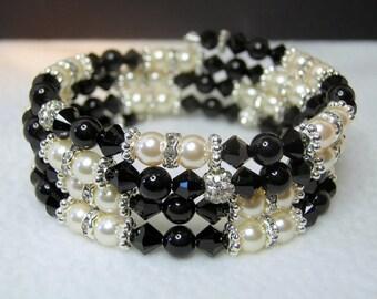 Black Crystal Memory Wire Bracelet